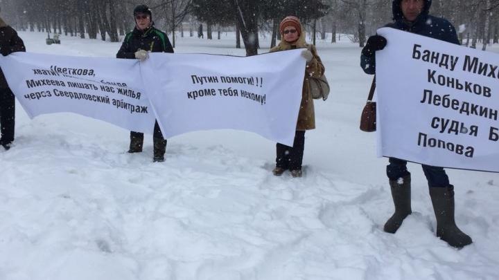 Митинг по колено в снегу: покупатели квартир в ЖК «Западный» вышли в парк отстаивать своё жилье