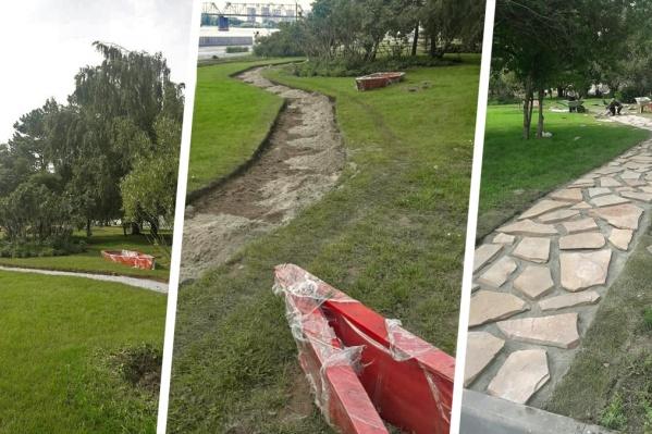 Кроме лодок на Михайловской набережной появились дорожки, мощёные крупным камнем