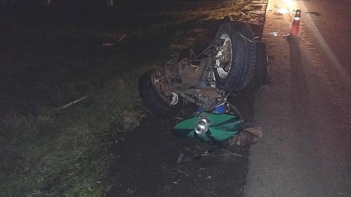 В Башкирии школьник соорудил свое транспортное средство и перевернулся на нем