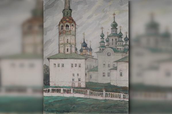 Картина Владимира Плотникова «Колокольня и церкви Соликамска». Художник написал ее в 1908 году