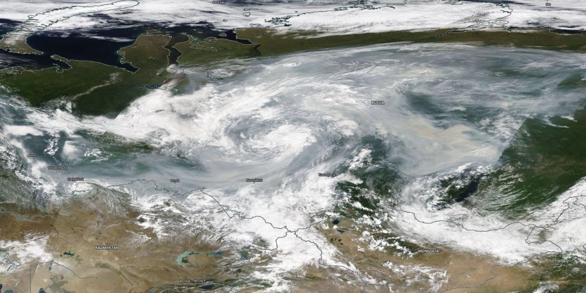 Так смог над Россией выглядит из космоса