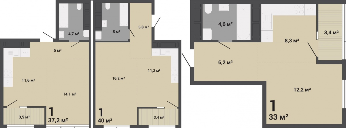 Примеры планировок просторных однокомнатных квартир, из которых легко сделать двушку