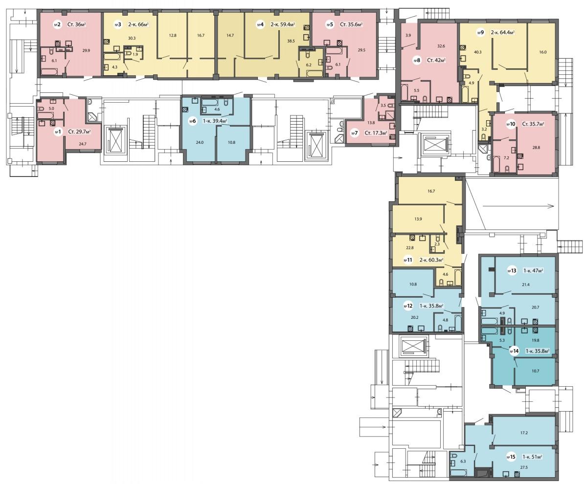 В ЖК «Пионер» апартаменты расположены на первом этаже дома.Планировки геометрически выверены: нет скошенных углов, бесполезных выступов и ниш