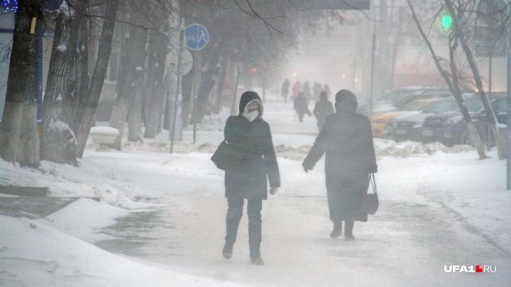 В Башкирии — сильный снег и метель: МЧС рекомендует не выходить из дома