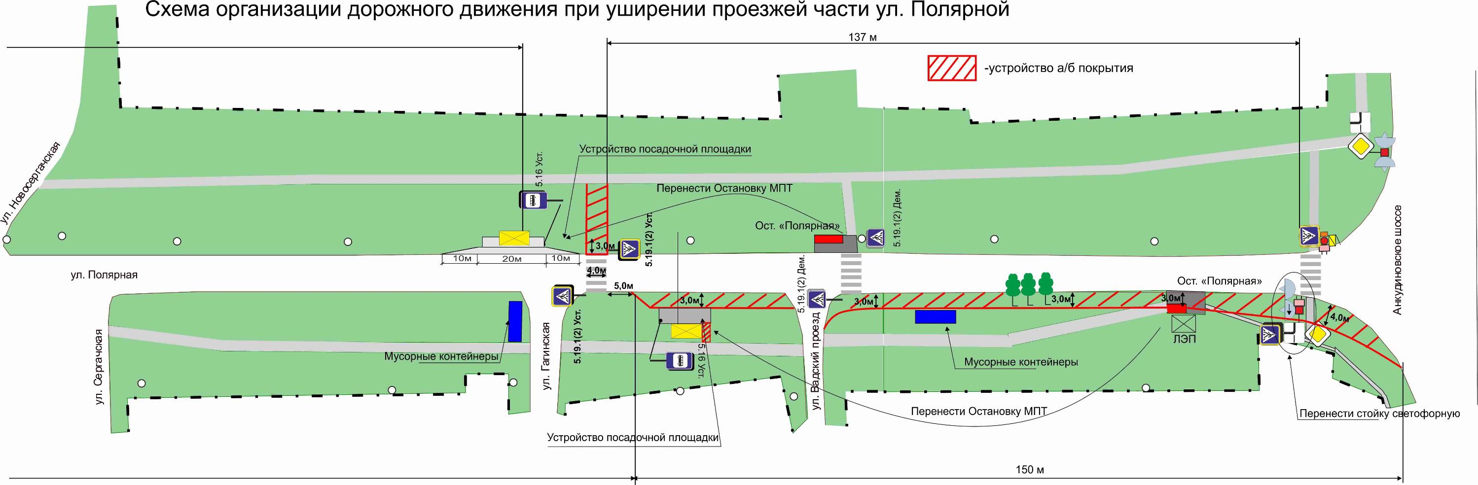 Проект по смене схемы движенияна перекрестке улицы Полярной и Анкудиновского шоссе