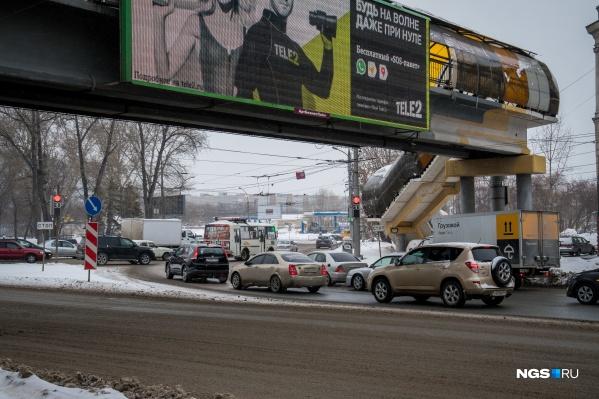 Въезд на площадь Энергетиков со стороны Димитровского моста