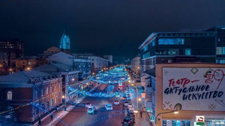 В Уфе зажгли 91,5 тысячи новогодних лампочек