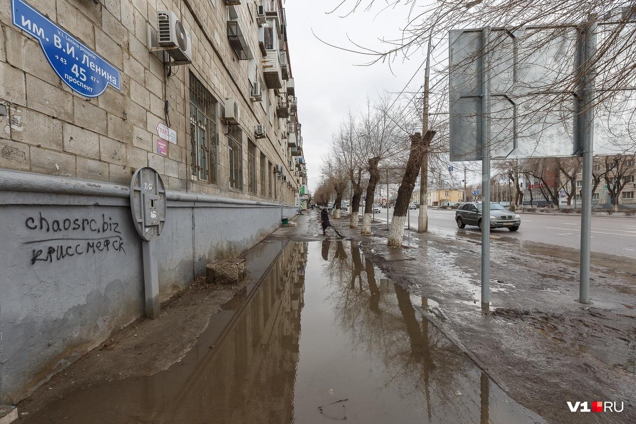 На проспекте Ленина, 45 самая солидная волгоградская лужа прописана уже четверть века