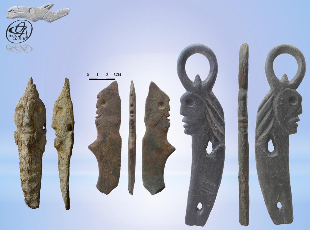 Фигурные изображения относятся к бронзовому веку, при этом о назначении предмета слева учёные спорили, но сошлись на том, что это идол, который носили на шее или одежде