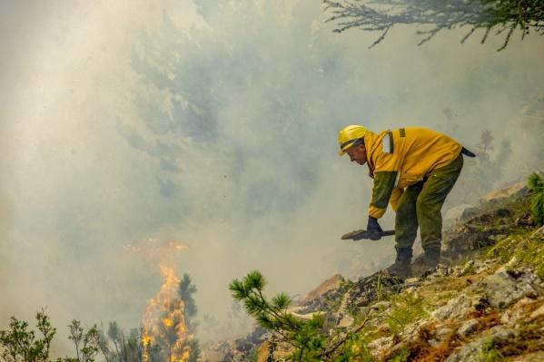 Пожарные засыпают возгорание грунтом и тушат с помощью рюкзаков