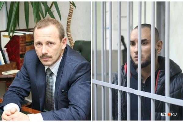 Адвокат Сергей Колосовский и один из обвиняемых по делу Ксении Каторгиной Михаил Федорович
