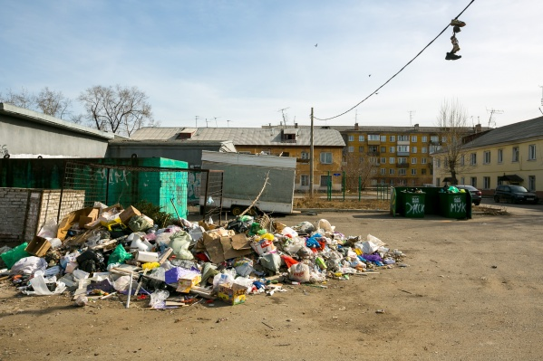 Свалка мусора на правобережье Красноярска