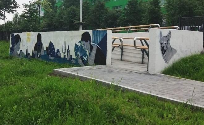 Художник нарисовал на ВИЗе полицейскую овчарку, чтобы его не оштрафовали за незаконное граффити
