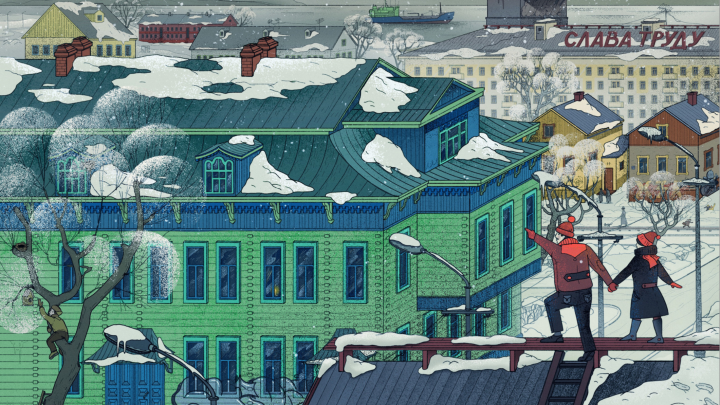 «Разные дома живут друг с другом»: снежный Архангельск в иллюстрациях главного художника города