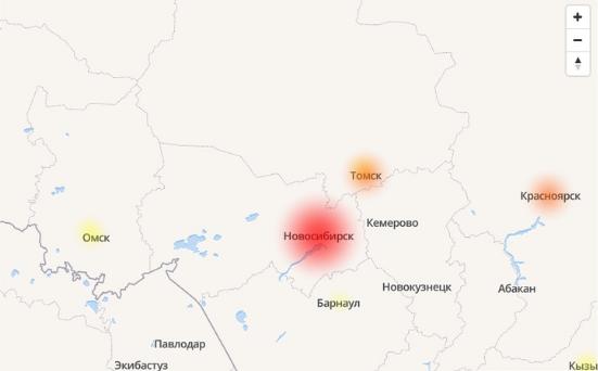 Онлайн-карта сбоев «Яндекса»<br>