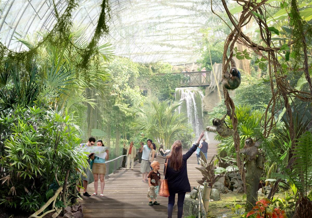 Тропический павильон — первый павильон, который гость посещает в зоопарке. Он сразу оказывается в другом мире