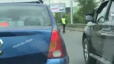 Минутка доброты: в Уфе сотрудник ГИБДД перевел семью утят через дорогу