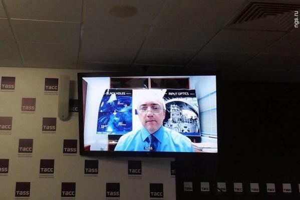 Сергей Клименко во время телемоста в новосибирском ТАСС. 16 февраля 2016 года