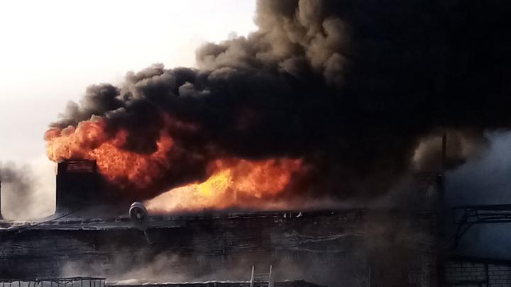 Под Волгоградом локализовали пожар на строительном складе лаков и растворителей: фоторепортаж