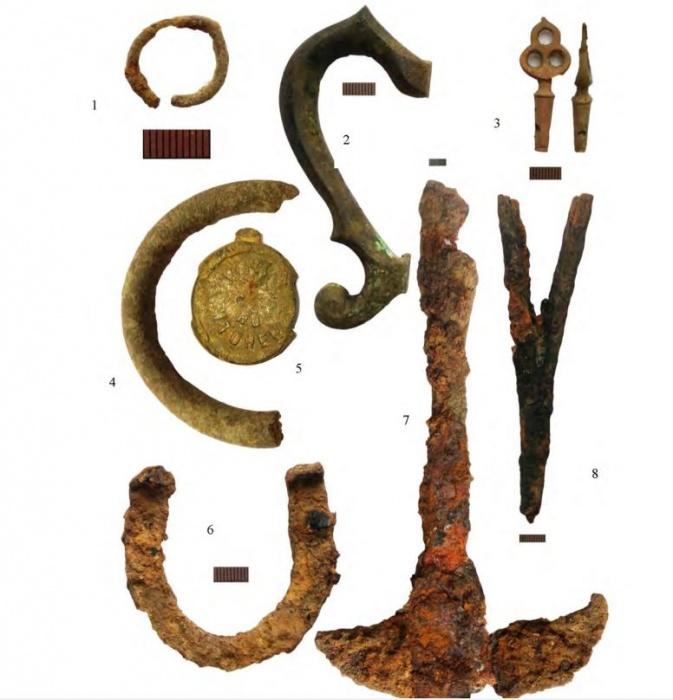 1 — медное кольцо, 2 — ручка самовара, 3 — ключик от самовара, 4 — медное кольцо, 5 — пломба, 6 — подкова мелкая, 7 — сечка, 8 — лучина (подставка)