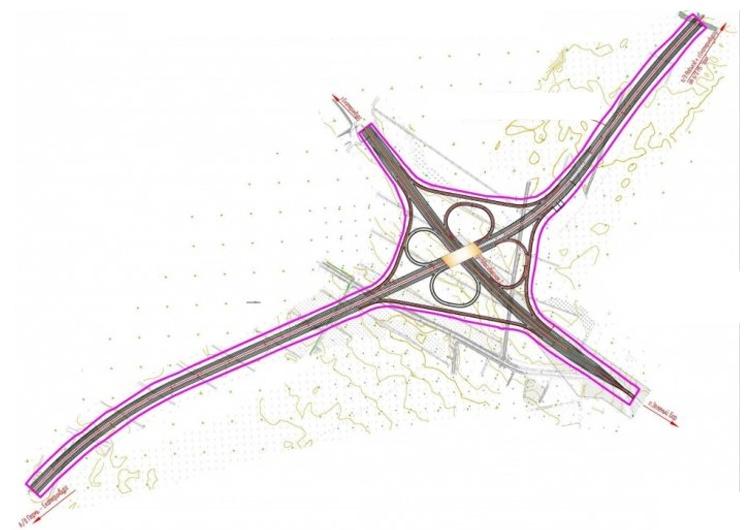 Схема развязки: магистраль с мостом — это ЕКАД, она пересекает Новосибирскую 2-ю, которая, в свою очередь, идет от Солнечного к Зеленому бору