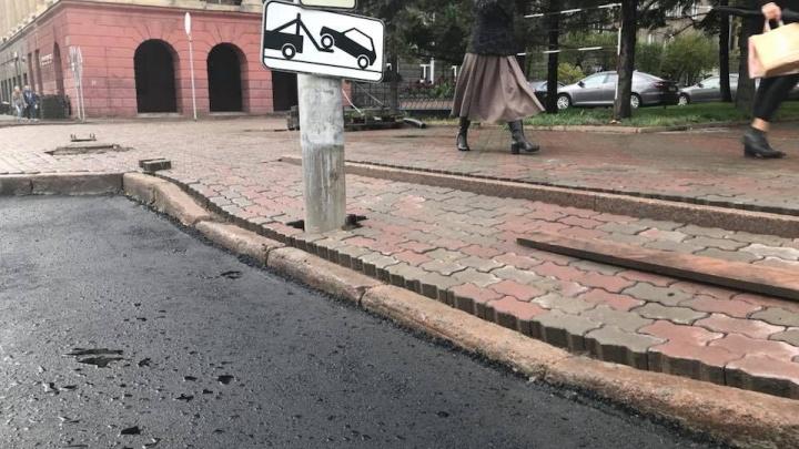 На проспекте Мира заметили уложенные в два ряда бордюры