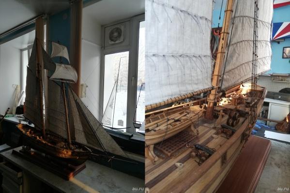 Все мелкие детали корабля проработаны — бочки, орудия, канаты