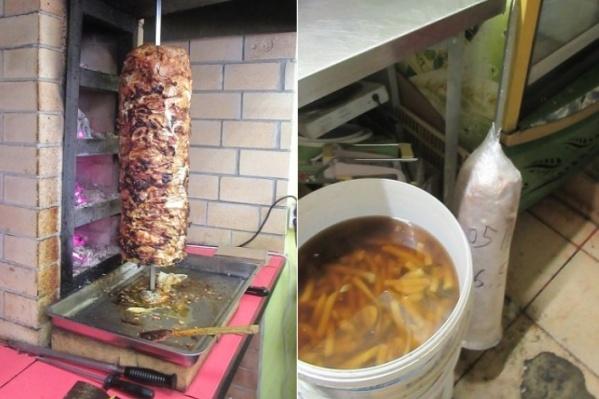 Мясо для шаурмы хранили не по правилам, а почищенный картофель держали в грязной воде