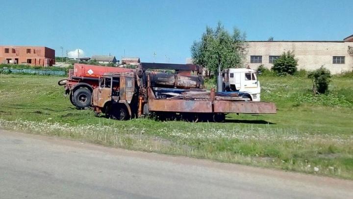 Появилось видео взрыва двух КАМАЗов в Башкирии