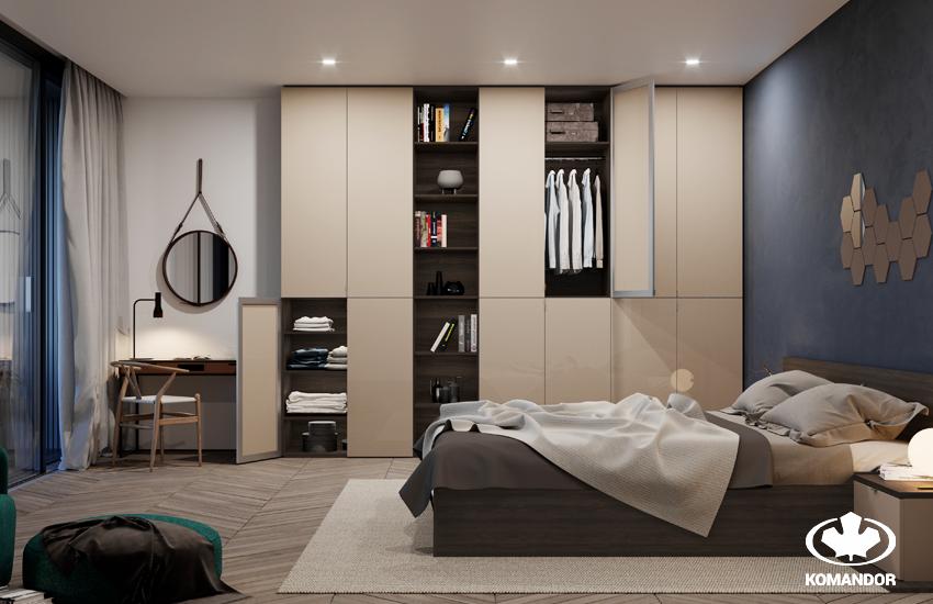 Комната в современном стиле. Шкаф с распашными дверями