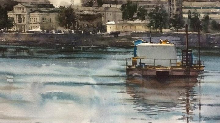 На пруду навсегда: буровая платформа с туалетом, изучавшая дно под Храм-на-воде, попала на акварели
