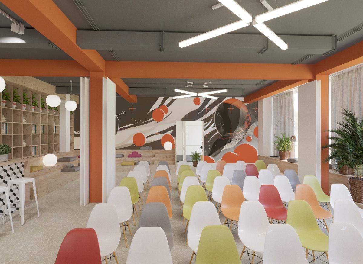 Для оформления центра выбрали космическую тему. На стене в главном зале изображен космонавт