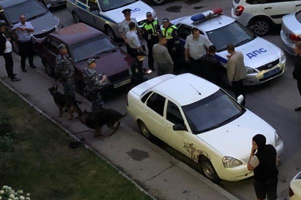 Во двор приехало множество полицейских