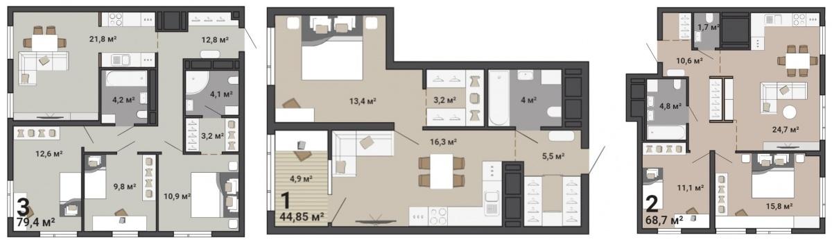 Варианты планировок квартир первого дома«Паркового квартала»
