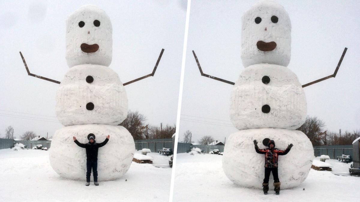 Только пуговица на снеговике — размером с человеческую голову