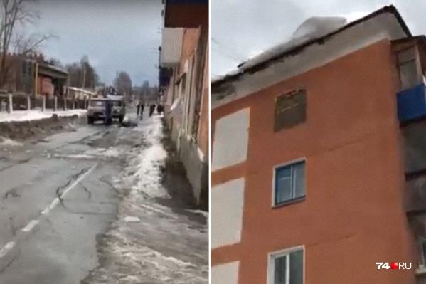 Женщина шла вдоль дома на Кирова, когда на неё упала глыба льда