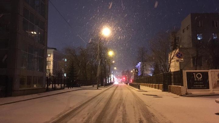 Екатеринбург накрыло долгожданным снегом