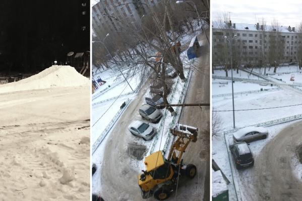 На первой фотографии — начало строительства горки. Второе и третье фото сделаны, когда трактор сносил горку с площадки