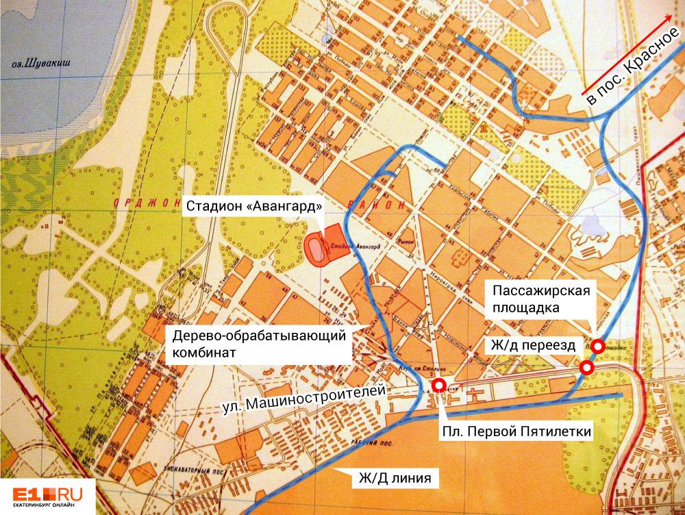 Старая карта Уралмаша, на которой видно, как пролегали железнодорожные ветки по заводу и району