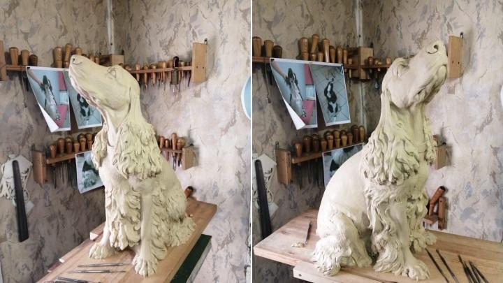 Появились фотографии статуи спаниеля, которую установят около Городового
