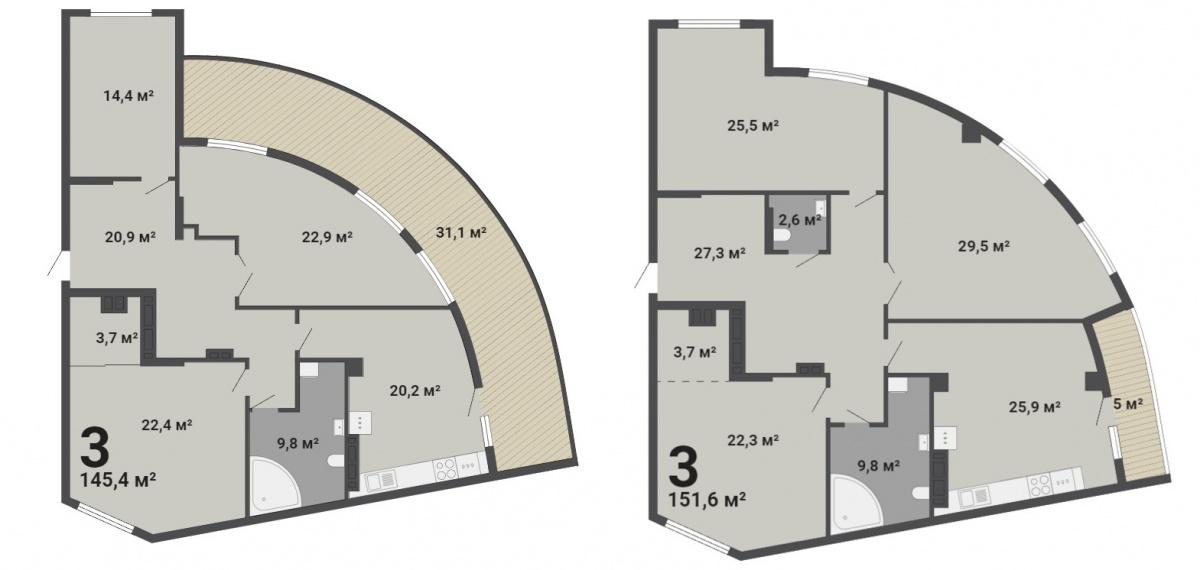 Планировки лимитированной серии квартир больших площадей