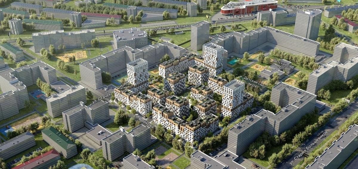 Генплан развития территории в «Северном квартале». Доминирование невысокой застройки встраивает проект в городской контекст