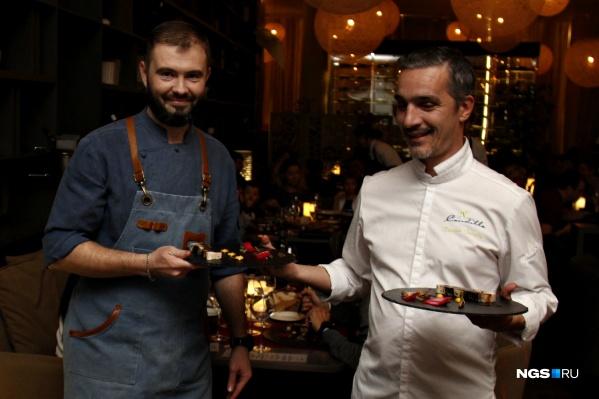 Шеф-повар Park-Cafe Александр Чурилов и Ксавье Брунель (справа)
