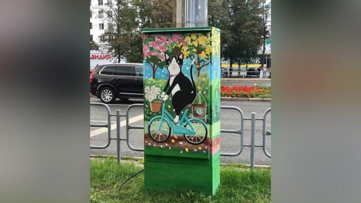 Челябинские художники посадили кота на велосипед возле педуниверситета