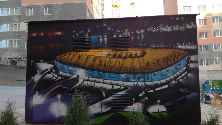 Ростовский художник украсил гараж рисунками стадиона и футбола