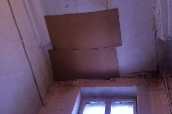 Чтобы штукатурка не валилась на головы жильцам, старый лист фанеры заменили двумя новыми