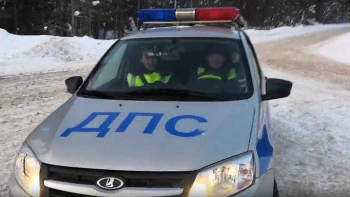 В Прикамье сотрудники ГИБДД спасли замерзающих мужчин на трассе. Видео