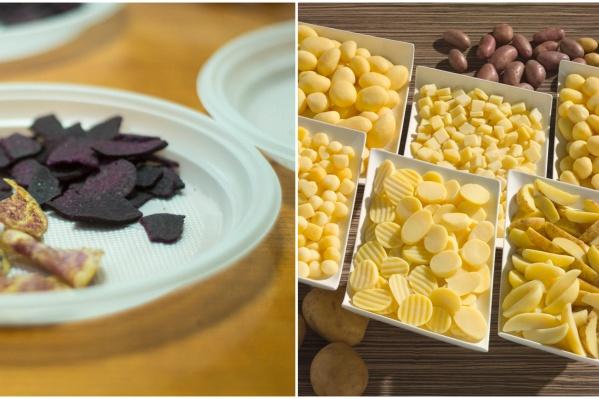 Тщетно искали чипсы из цветного картофеля (слева), и классические от другого тюменского производителя. Но нашли только полуфабрикаты