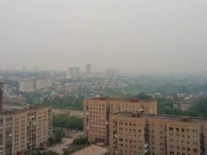 Смог над городом. Вид с площади Сибиряков-Гвардейцев