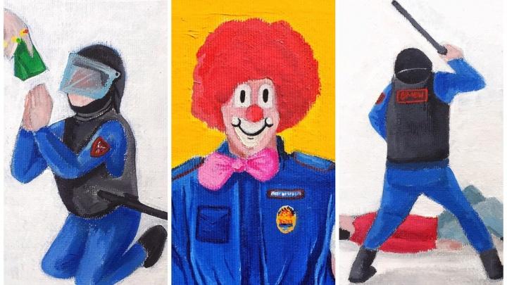 «Нет смысла штамповать картины с жопами»: художник из Екатеринбурга написал серию работ о протестах